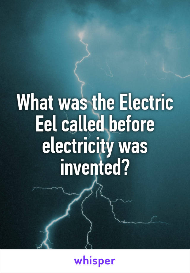 What was the Electric Eel called before electricity was invented?