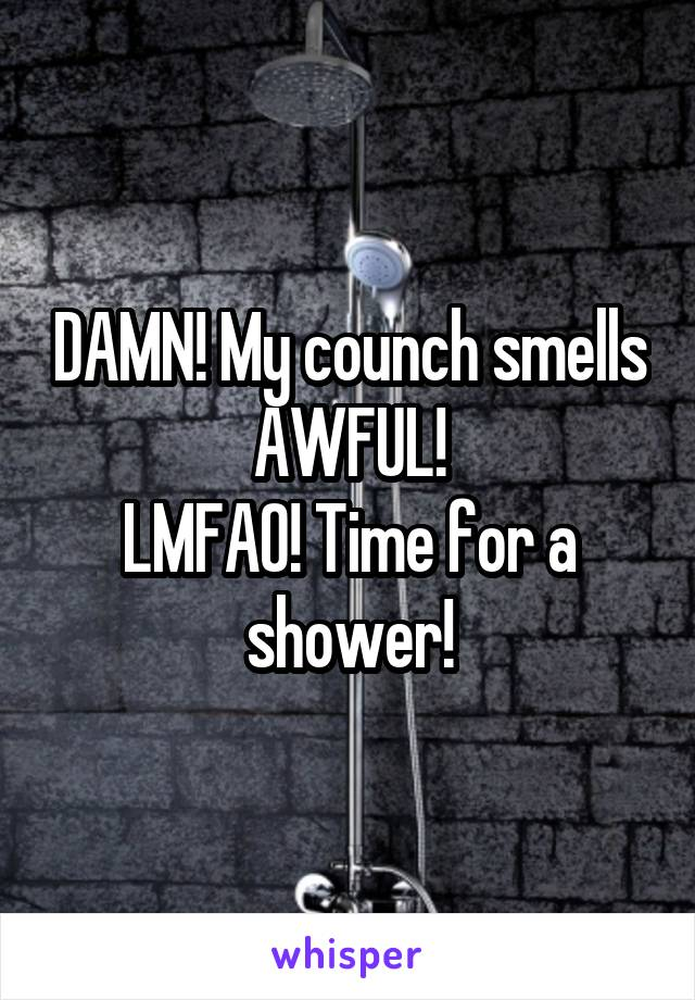 DAMN! My counch smells AWFUL! LMFAO! Time for a shower!