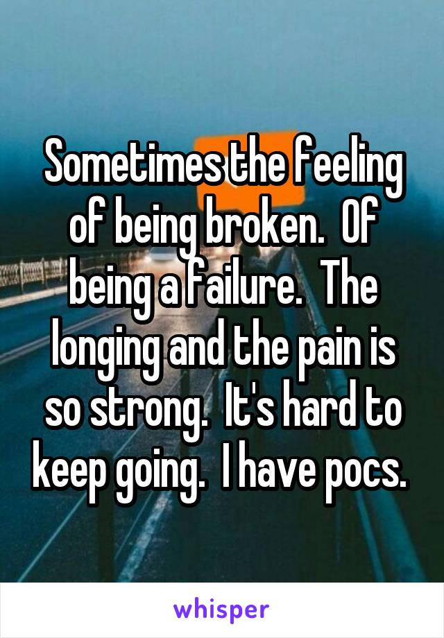 Sometimes the feeling of being broken.  Of being a failure.  The longing and the pain is so strong.  It's hard to keep going.  I have pocs.