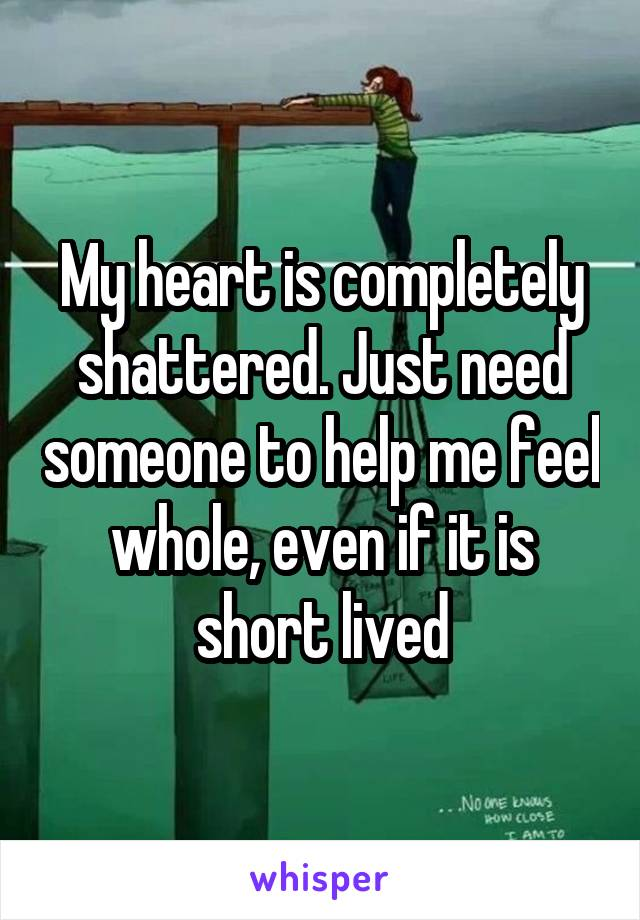 My heart is completely shattered. Just need someone to help me feel whole, even if it is short lived