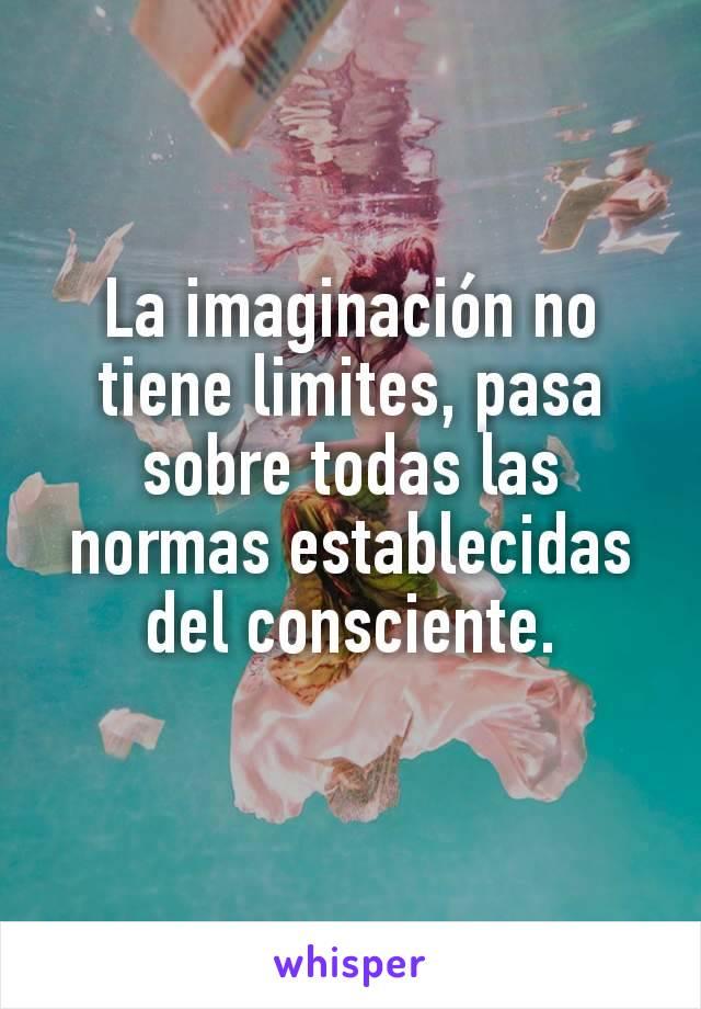 La imaginación no tiene limites, pasa sobre todas las normas establecidas del consciente.