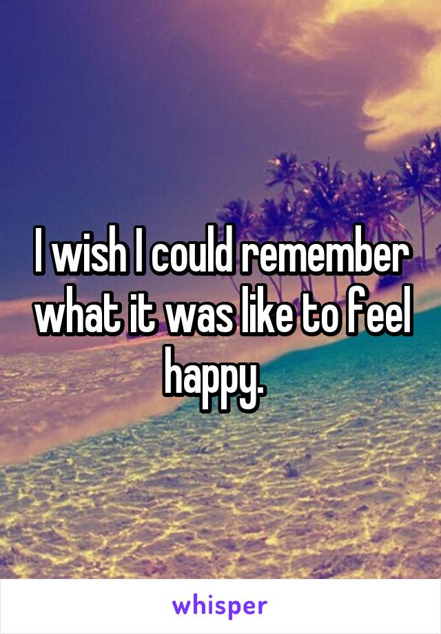 I wish I could remember what it was like to feel happy.