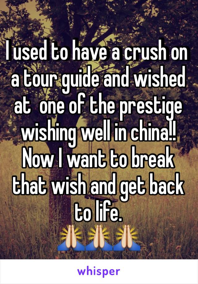 I used to have a crush on a tour guide and wished at  one of the prestige wishing well in china!!  Now I want to break that wish and get back to life.  🙏🙏🙏