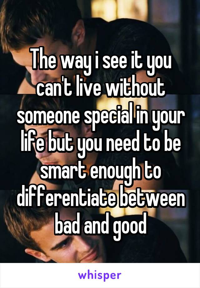 The way i see it you can't live without someone special in your life but you need to be smart enough to differentiate between bad and good