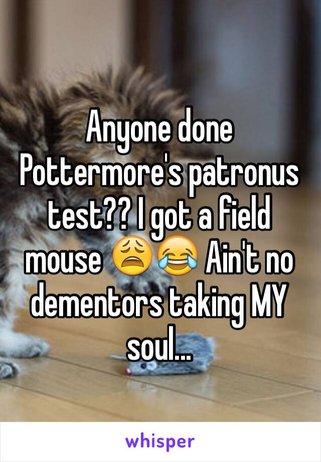 Anyone done Pottermore's patronus test?? I got a field mouse 😩😂 Ain't no dementors taking MY soul...