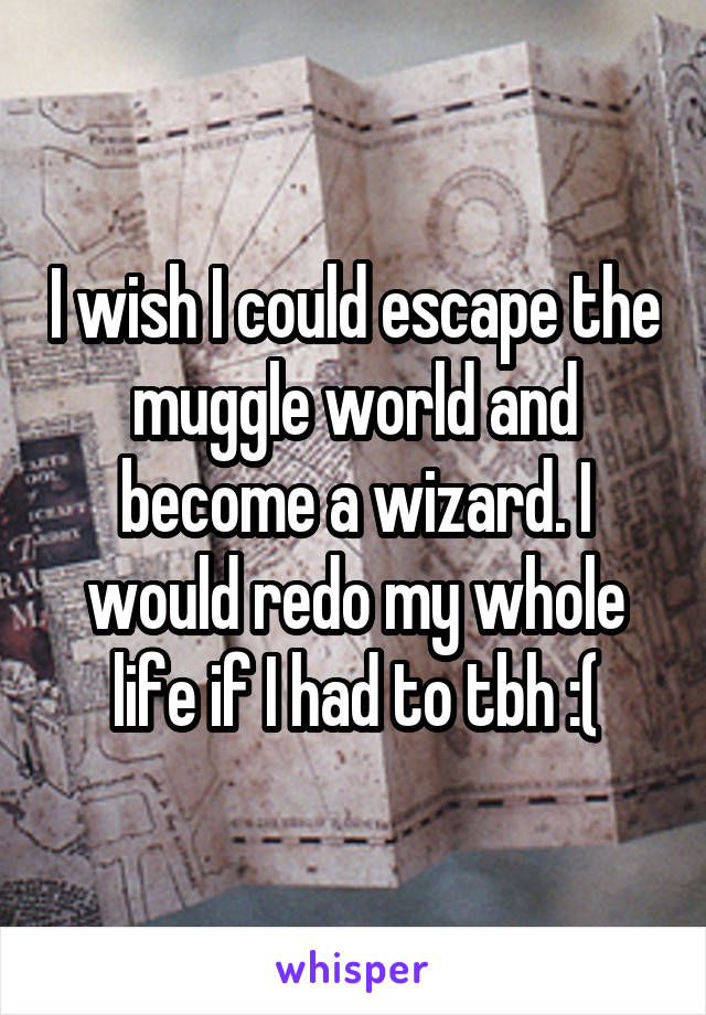 I wish I could escape the muggle world and become a wizard. I would redo my whole life if I had to tbh :(