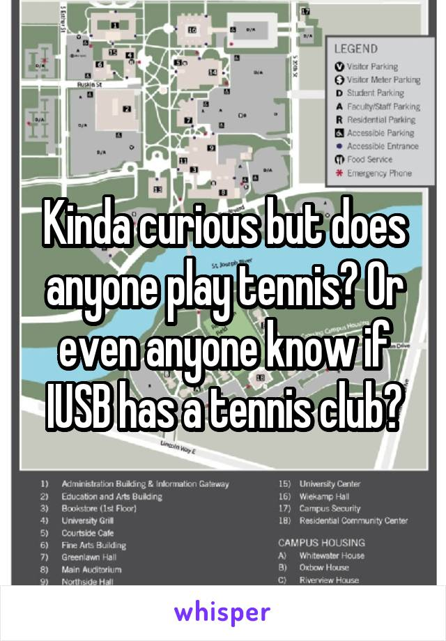 Kinda curious but does anyone play tennis? Or even anyone know if IUSB has a tennis club?
