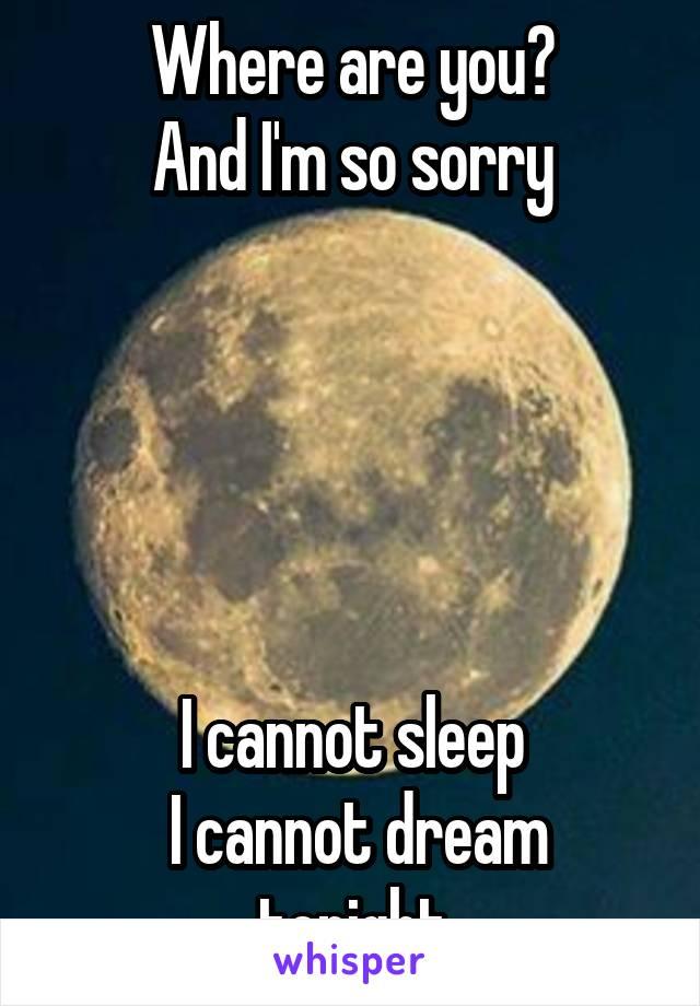 Where are you? And I'm so sorry      I cannot sleep  I cannot dream tonight