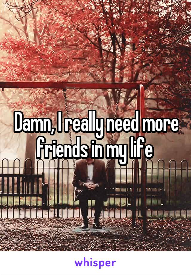 Damn, I really need more friends in my life