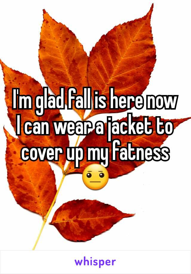 I'm glad fall is here now I can wear a jacket to cover up my fatness 😐