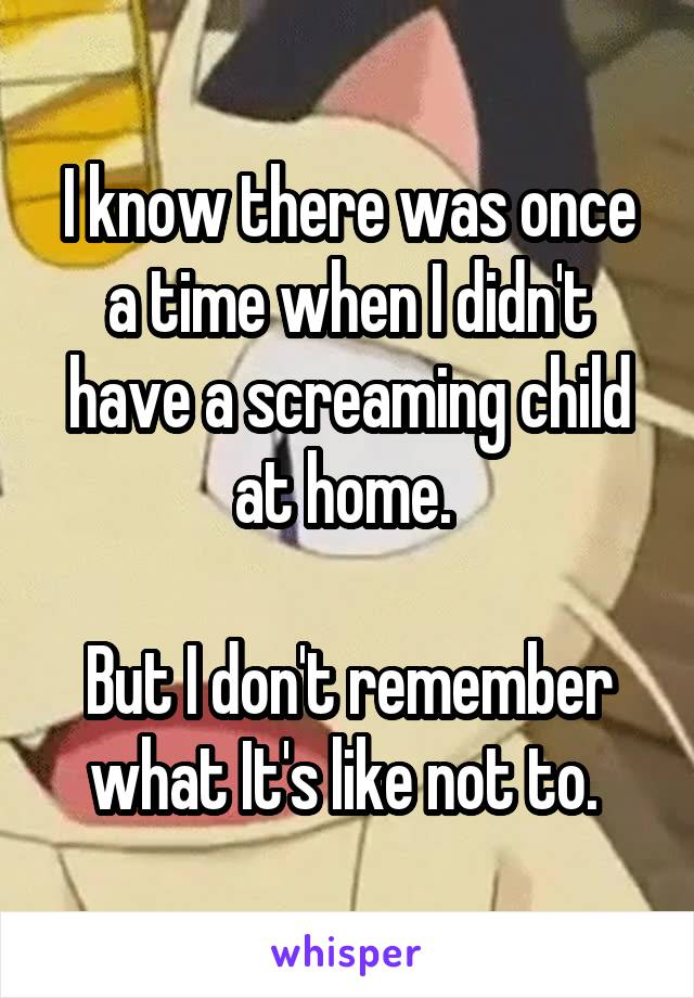 I know there was once a time when I didn't have a screaming child at home.   But I don't remember what It's like not to.