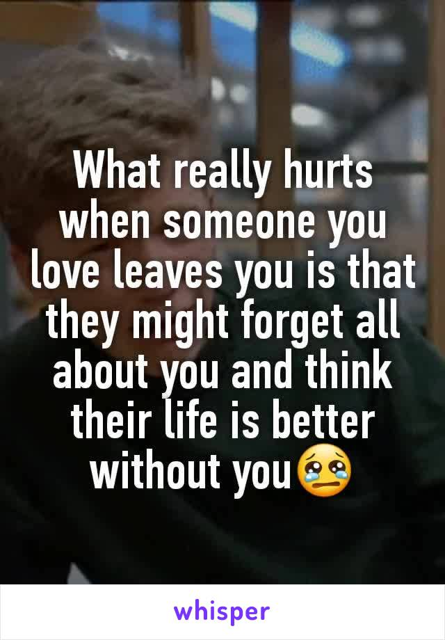 What really hurts when someone you love leaves you is that they might forget all about you and think their life is better without you😢