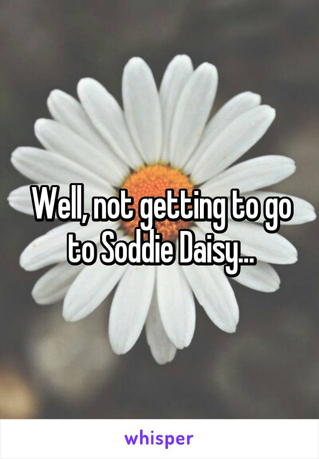 Well, not getting to go to Soddie Daisy...