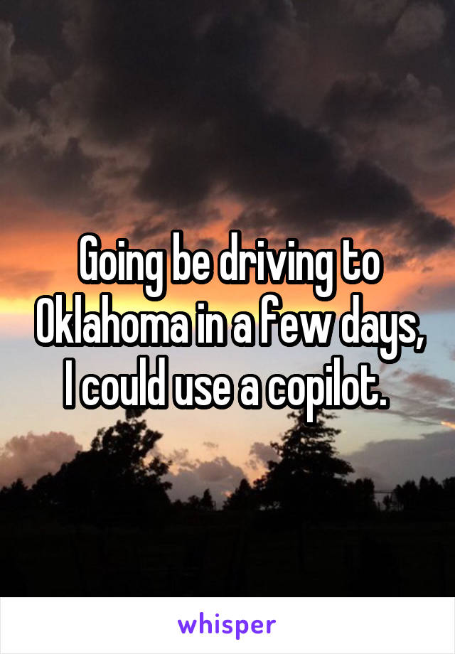 Going be driving to Oklahoma in a few days, I could use a copilot.