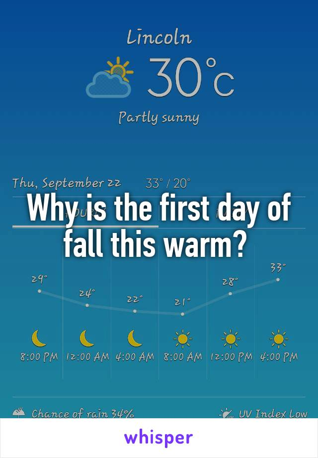 Why is the first day of fall this warm?