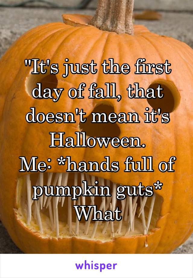 """""""It's just the first day of fall, that doesn't mean it's Halloween. Me: *hands full of pumpkin guts* What"""