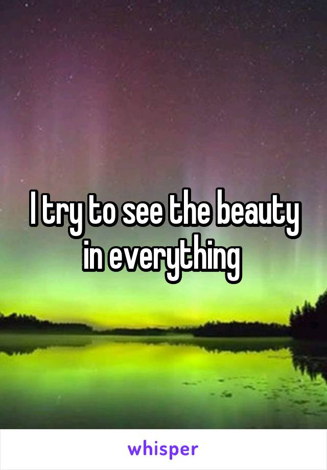 I try to see the beauty in everything