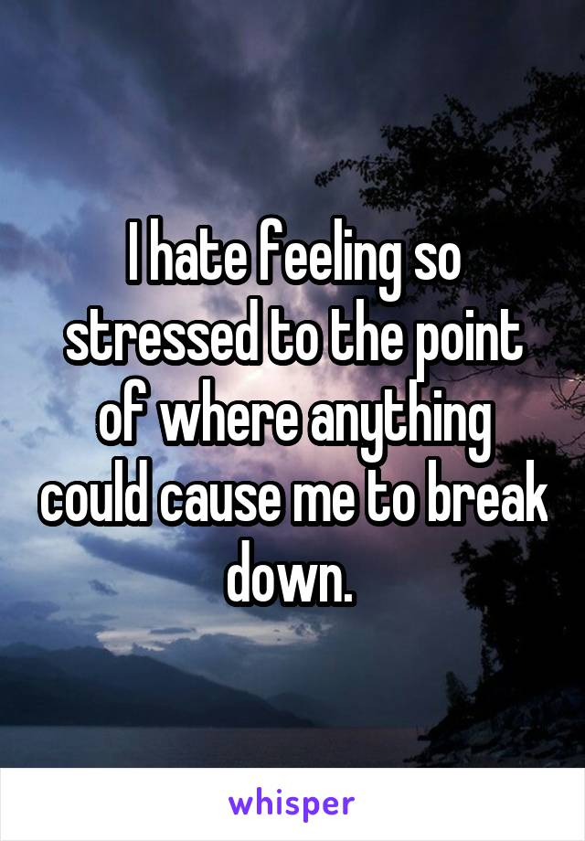 I hate feeling so stressed to the point of where anything could cause me to break down.