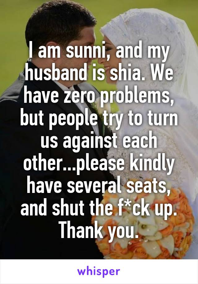 I am sunni, and my husband is shia. We have zero problems, but people try to turn us against each other...please kindly have several seats, and shut the f*ck up. Thank you.