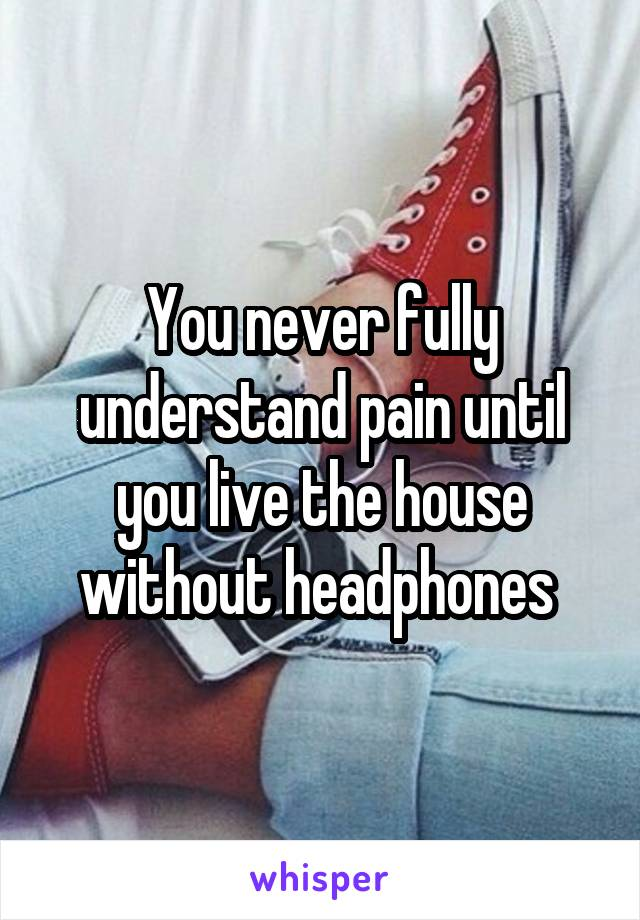 You never fully understand pain until you live the house without headphones
