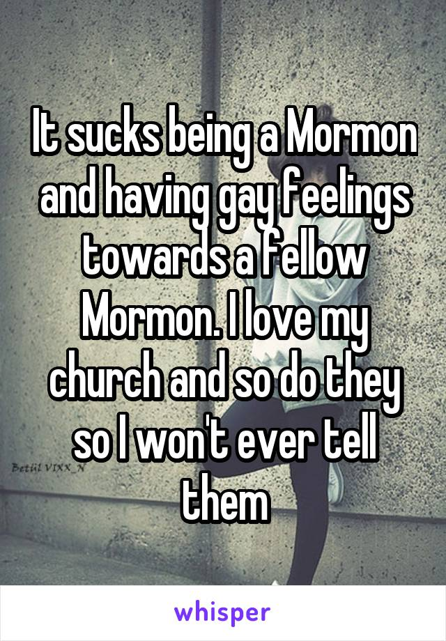 It sucks being a Mormon and having gay feelings towards a fellow Mormon. I love my church and so do they so I won't ever tell them