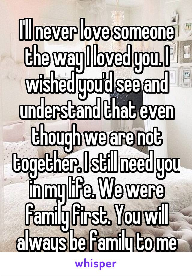 I'll never love someone the way I loved you. I wished you'd see and understand that even though we are not together. I still need you in my life. We were family first. You will always be family to me