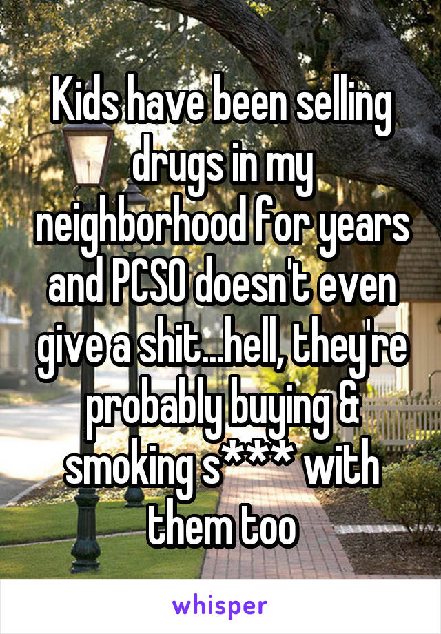 Kids have been selling drugs in my neighborhood for years and PCSO doesn't even give a shit...hell, they're probably buying & smoking s*** with them too