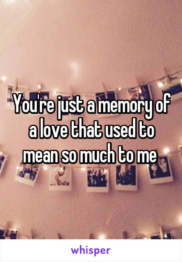 You're just a memory of a love that used to mean so much to me