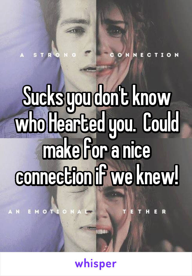 Sucks you don't know who Hearted you.  Could make for a nice connection if we knew!
