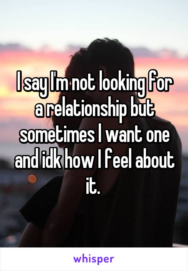 I say I'm not looking for a relationship but sometimes I want one and idk how I feel about it.