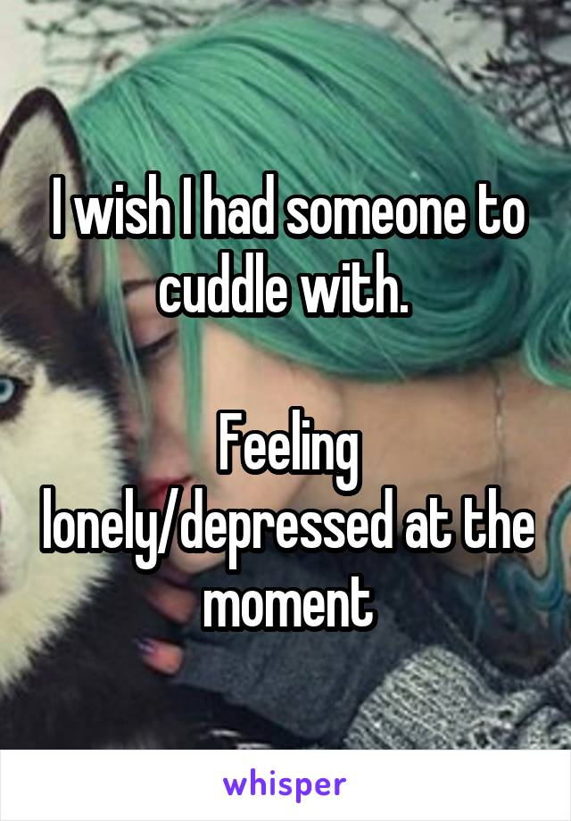 I wish I had someone to cuddle with.   Feeling lonely/depressed at the moment