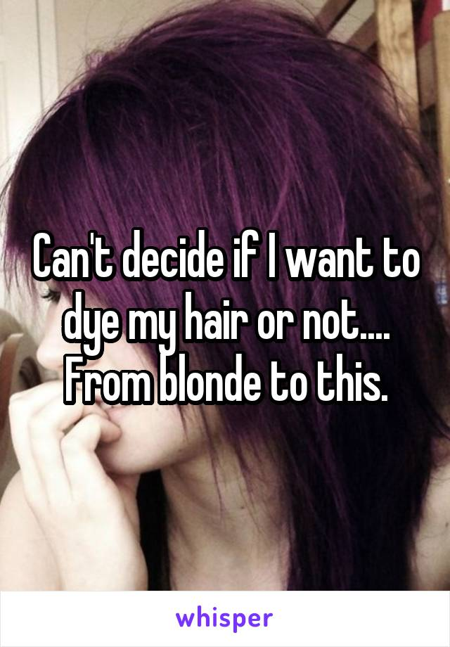 Can't decide if I want to dye my hair or not.... From blonde to this.