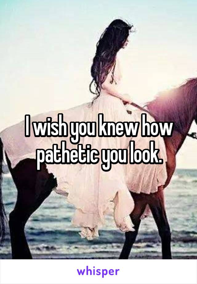 I wish you knew how pathetic you look.