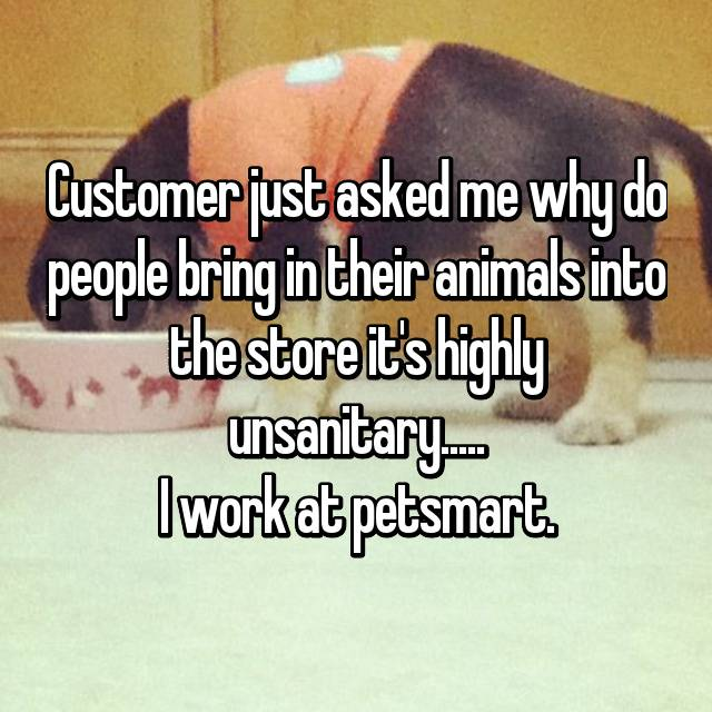 Customer just asked me why do people bring in their animals into the store it's highly unsanitary..... I work at petsmart.