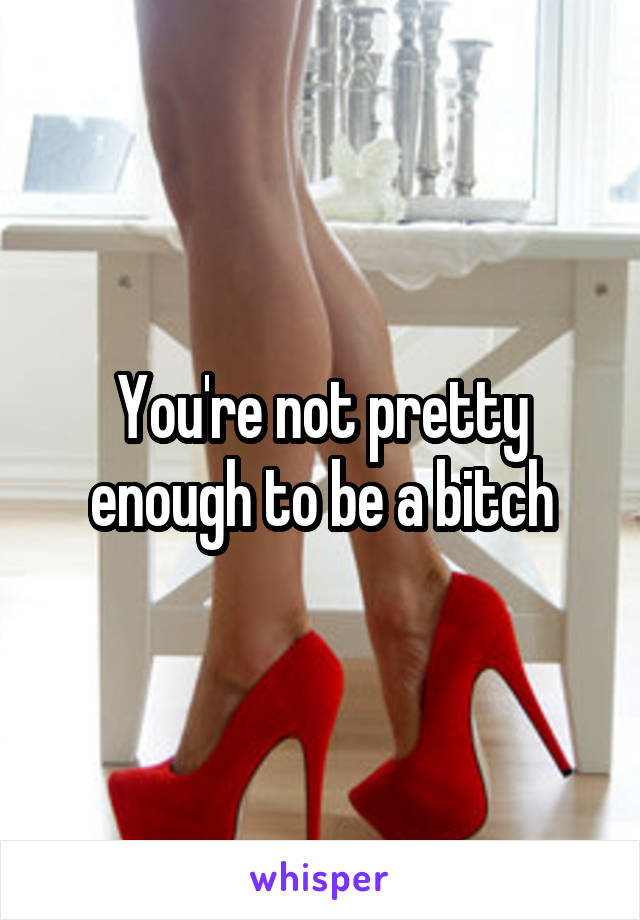 You're not pretty enough to be a bitch