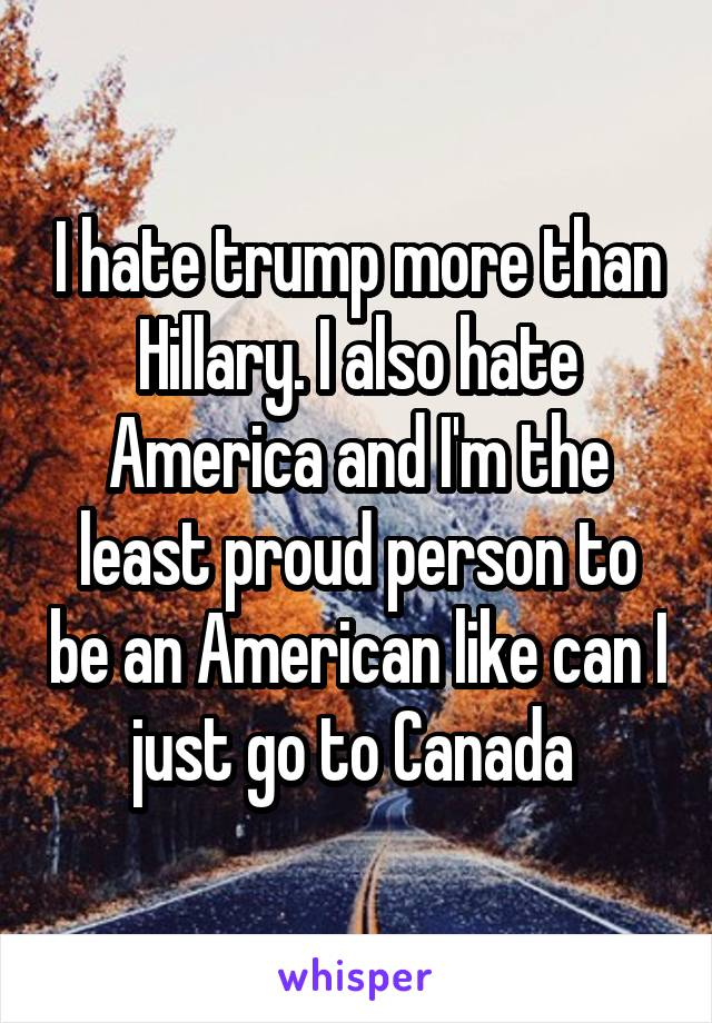 I hate trump more than Hillary. I also hate America and I'm the least proud person to be an American like can I just go to Canada