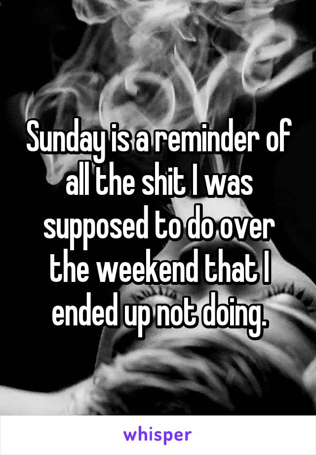Sunday is a reminder of all the shit I was supposed to do over the weekend that I ended up not doing.