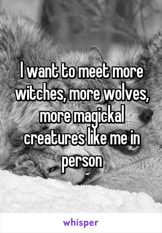I want to meet more witches, more wolves, more magickal creatures like me in person