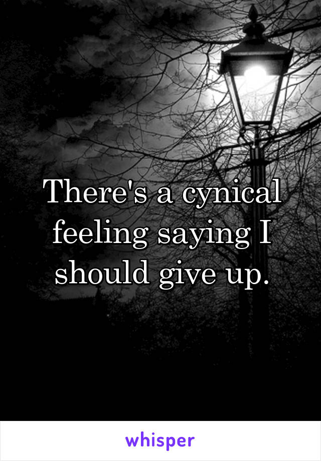 There's a cynical feeling saying I should give up.
