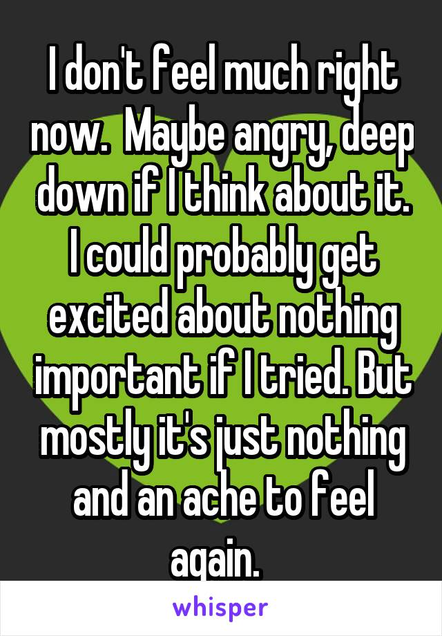 I don't feel much right now.  Maybe angry, deep down if I think about it. I could probably get excited about nothing important if I tried. But mostly it's just nothing and an ache to feel again.