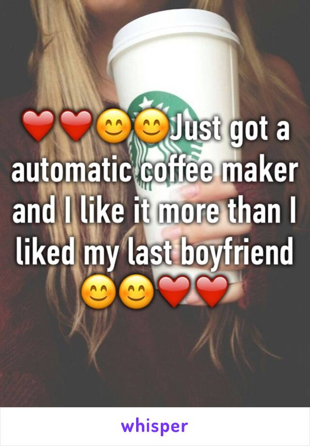 ❤️❤️😊😊Just got a automatic coffee maker and I like it more than I liked my last boyfriend 😊😊❤️❤️