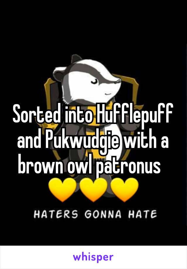 Sorted into Hufflepuff and Pukwudgie with a brown owl patronus   💛💛💛