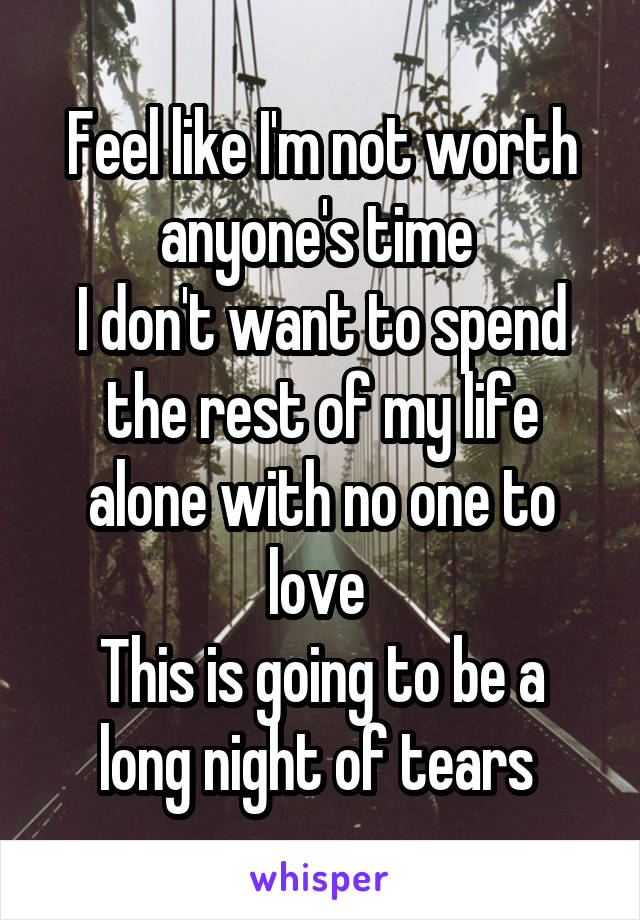 Feel like I'm not worth anyone's time  I don't want to spend the rest of my life alone with no one to love  This is going to be a long night of tears