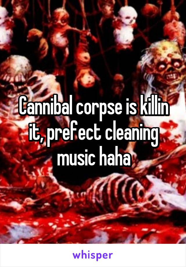 Cannibal corpse is killin it, prefect cleaning music haha