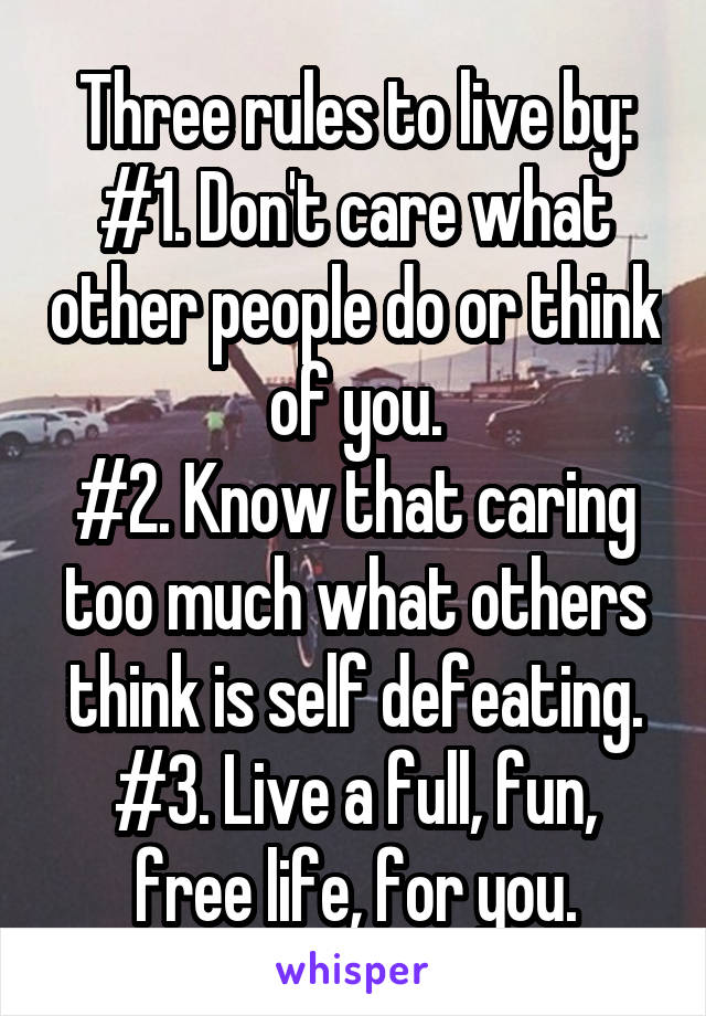 Three rules to live by: #1. Don't care what other people do or think of you. #2. Know that caring too much what others think is self defeating. #3. Live a full, fun, free life, for you.