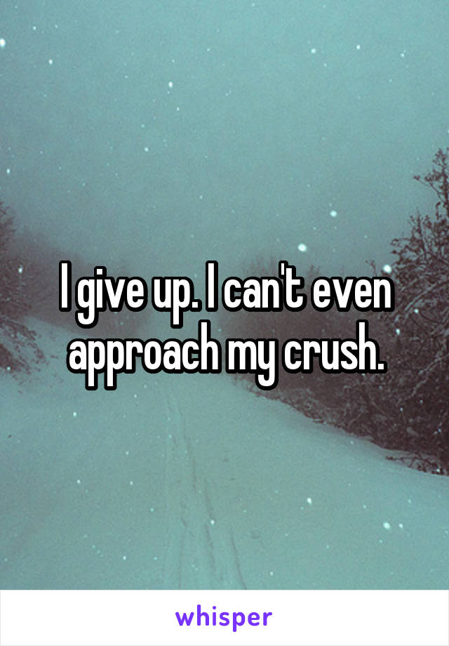 I give up. I can't even approach my crush.