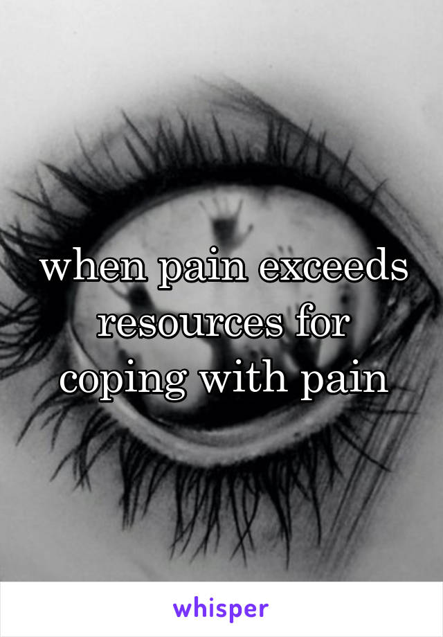 when pain exceeds resources for coping with pain