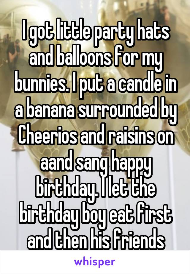 I got little party hats and balloons for my bunnies. I put a candle in a banana surrounded by Cheerios and raisins on aand sang happy birthday. I let the birthday boy eat first and then his friends