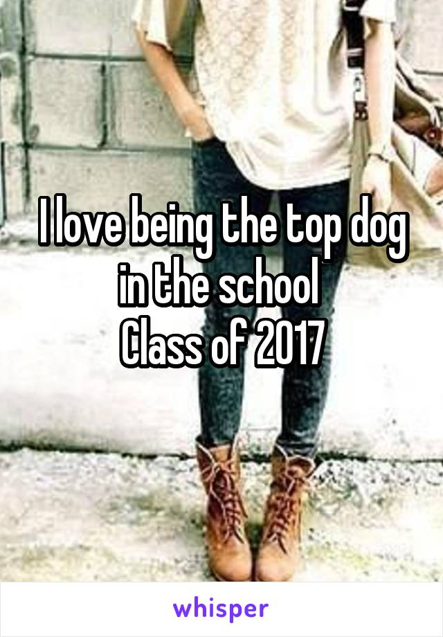 I love being the top dog in the school  Class of 2017