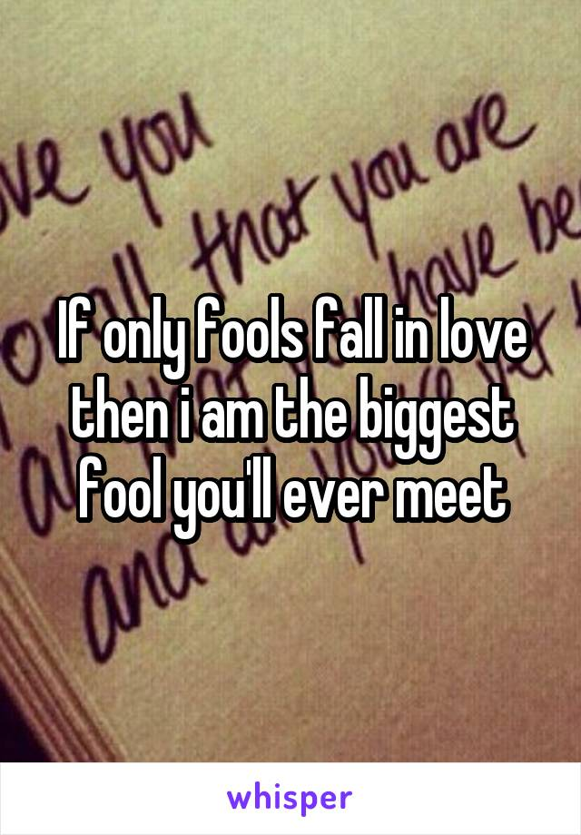 If only fools fall in love then i am the biggest fool you'll ever meet